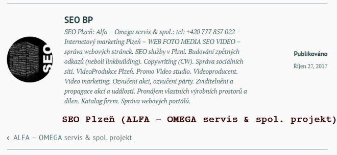 SEO Plzeň (ALFA - OMEGA servis & spol. projekt)